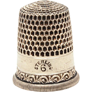 Simons Bros. Sterling Sewing Thimble with Ornate Band of Swoops, Swirls, and Flourishes