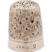 Rare Charles Iles Doris Thimble, Steel Cored, Daisy Pattern, Size 12