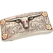 Sterling 10K Gold Western Belt Buckle with Texas Longhorn Steer with Ruby Eyes