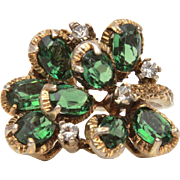 Panetta Sterling Cluster Ring with Emerald Green Crystals, Open Back Unfoiled
