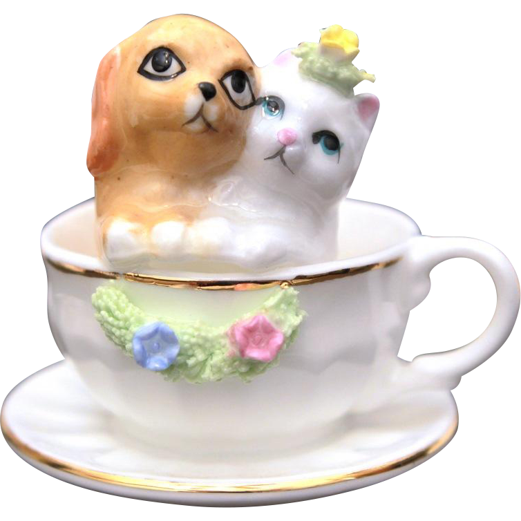 Miniature Teacup & Saucer with Kitty Cat & Puppy Dog, Bone China Napcoware, Tea for Two, Porcelain