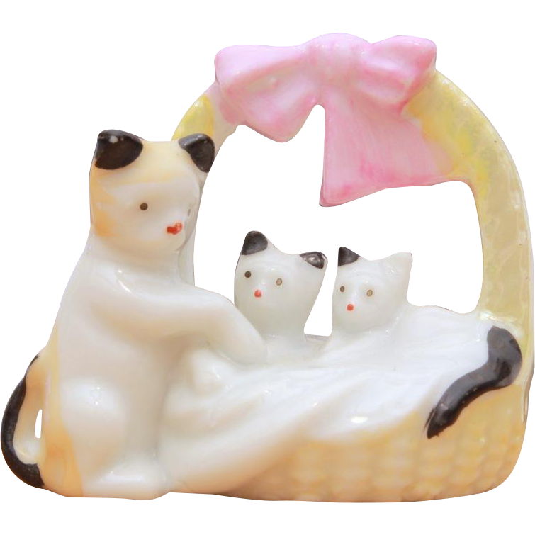 Japan Porcelain Miniature Cat & Kittens in Basket with Pink Bow