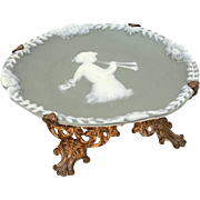 Jasperware Cameo Dish Woman Plating Flutes & Winged Cherubs on Gilded Brass Feet, Footed Dish