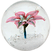 Murano Glass Paperweight with Pink Flower on Bubbles, Original Sticker Made in Murano Italy