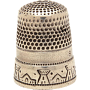 Antique Sterling Thimble Southwest Village, Alamo Scene, Simons Brothers
