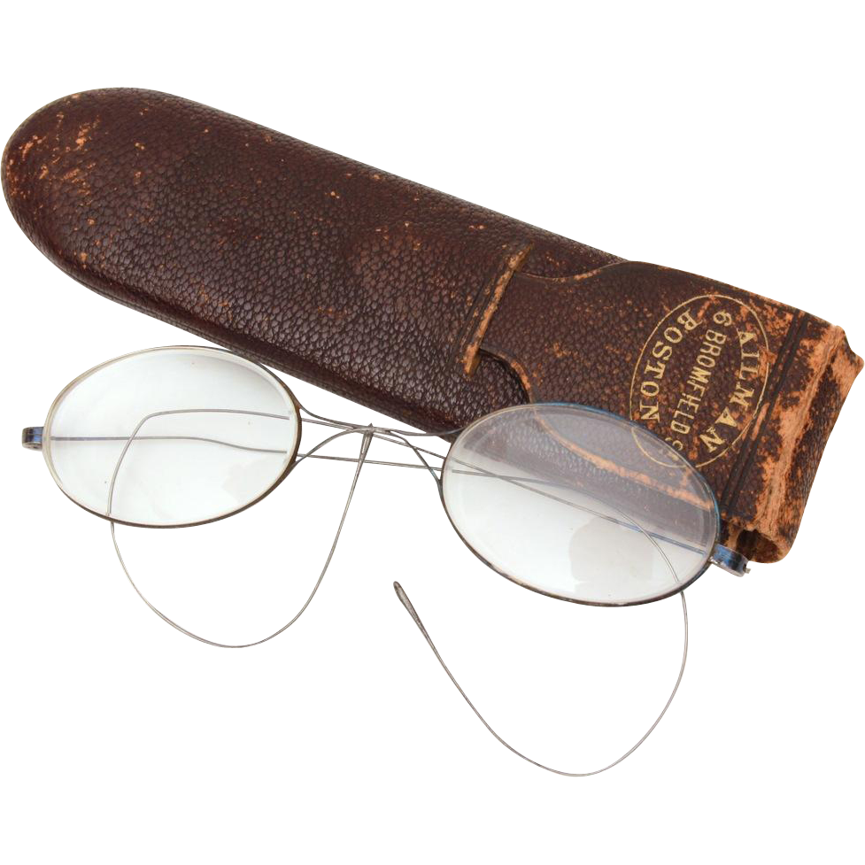 Antique Steel Wire Spectacles in Leather Case from Ailman of Boston, Eye Glasses
