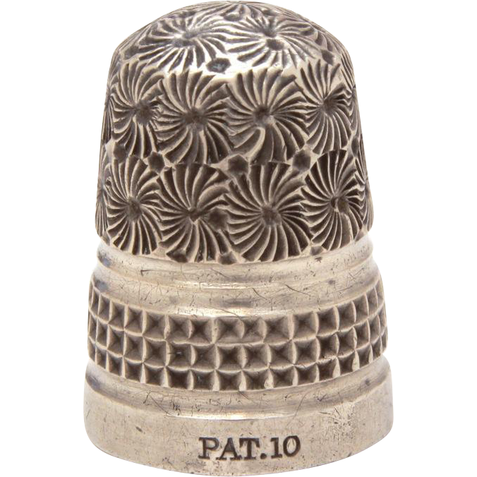 Antique Charles Horner Dorcas Thimble in Flora Pattern, Silver Clad Steel