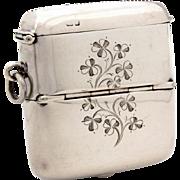 1903 Sterling Sovereign Holder & Vesta Engraved Shamrocks, Chester Solid Silver Match Safe Pocket Watch Fob