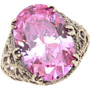 Purple Pink CZ Sterling Filigree Cocktail Ring, Size 8.25