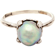 Chinese Silver Gray Baroque Pearl Ring, Size 7 3/4, Sterling