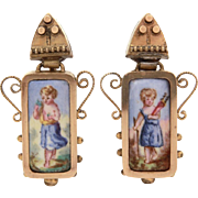 Antique Czech Enamel Earrings, Cherub Angel Putti Portraits
