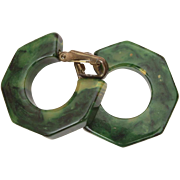 Marbled Green Bakelite Hoop Clip Earrings, Simichrome Tested
