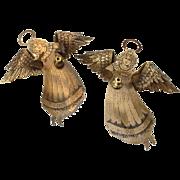 Vintage Brass Angel Christmas Ornaments