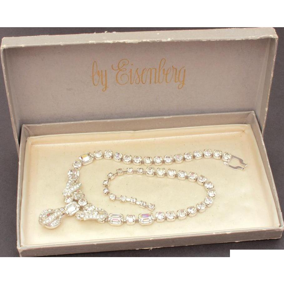 Signed Eisenberg Necklace with Dangle in Original Box, Emerald Cut Glass Rhinestones
