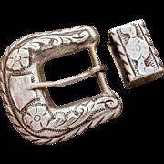 Pre-Eagle Mexican Sterling Buckle Ranger Set Plamex, Western Belt Buckle & Keeper