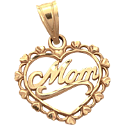 14k Gold Mom Heart Pendant, Mothers Day Gift