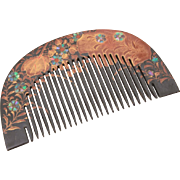 Antique Japanese Geisha Kanzashi Kushi Hair Comb, Black Lacquer & Raden Abalone Shell Inlay