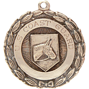 US Coast Guard Sterling Medal, Pocket Watch Fob with Horse, Engraved Four Horsemen, United States Navy