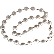 "Antique Rock Quartz Pools of Light Necklace 32"" Long, 34 Orbs"