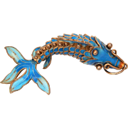 Chinese Articulated Fish Pendant Gilded Silver Enamel Koi, Blue Enameled Carp