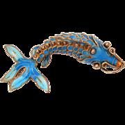 Chinese Articulated Fish Pendant Gilded Silver Enamel Koi, Blue Enameled Carp