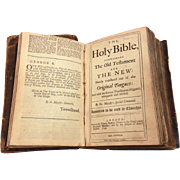 1749 Robert & Thomas Baskett Holy Bible, London Printing, Leather Bound Old and New Testament