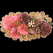 1930s Miriam Haskell Frank Hess Art Glass Petals Pin, Unsigned Book Piece