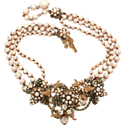 DeMario Necklace Costume Baroque Pearls, Colorless Rhinestones, Gold Tone Leaves, Miriam Haskell Designer