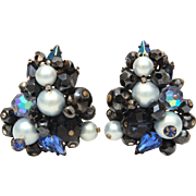 Eugene Cluster Earrings Blue Crystal Beads, Sapphire Blue Pear Shaped Rhinestones