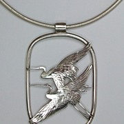 Cranes in flight necklace, sterling silver, leather neck cord