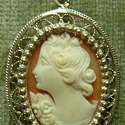 Vintage silver and shell cameo with chain