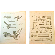 A pair of Late Georgian Engravings of Microscopes c 1821