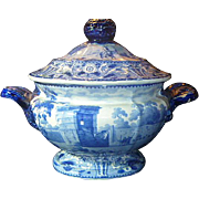 Antique English Blue & White Staffordshire Pearlware sause tureen