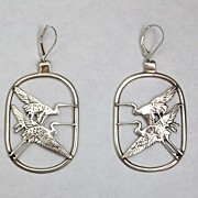 Cranes in flight earrings, sterling