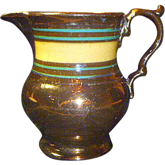 Antique English Copper Luster Jug