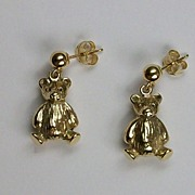 Teddy bear earrings, 18K gold