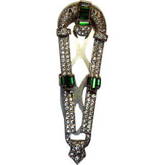 Vintage Art Deco Rhinestone Dress Clip