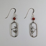Ballet earrings, sterling silver and carnelian beads