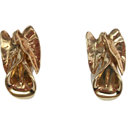 Lily post earrings, 18k gold plate