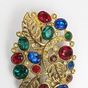 Vintage colorful rhinestone brooch