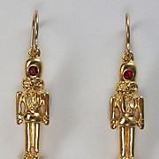 Nutcracker earrings, crystal, 18k gold plate, gold filled earwires