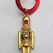 Nutcracker necklace, large size, crystal, 18k matte gold plate