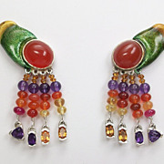 Repousse abstract form colorful earrings