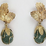 Vintage leaf and green genuine stone ear-clips, gold plate, 1960's