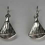 Egyptian style lotus blossom dangle earrings, sterling silver