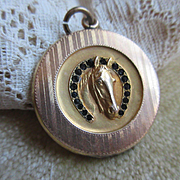 Antique Equestrian Good Luck Locket with Paste Brilliants in Gold fill