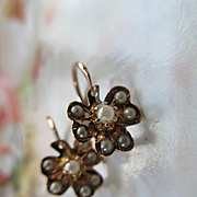 Victorian 10K Seed Pearl Pierced Earrings Fine Antique Estate Jewelry