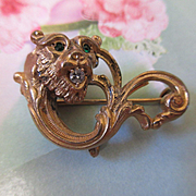 Victorian Lion Gold Fill Watch Pin with Diamond and Paste Accents