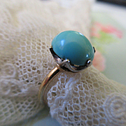 Antique 10k Sky Blue Turquoise Ring