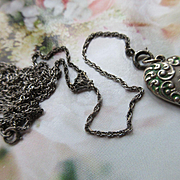 Vintage Circa 1920 Sterling Lorgnette Chain Puffy Heart Necklace